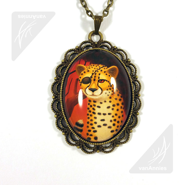 One-Eyed Cheetah Wearing an Eye Patch Necklace