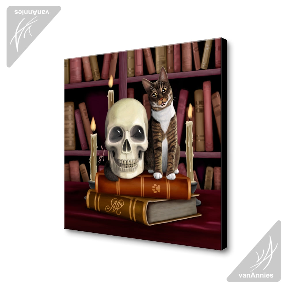 Amazing Stories (Cat and Skull in Library) Wrapped Canvas Print