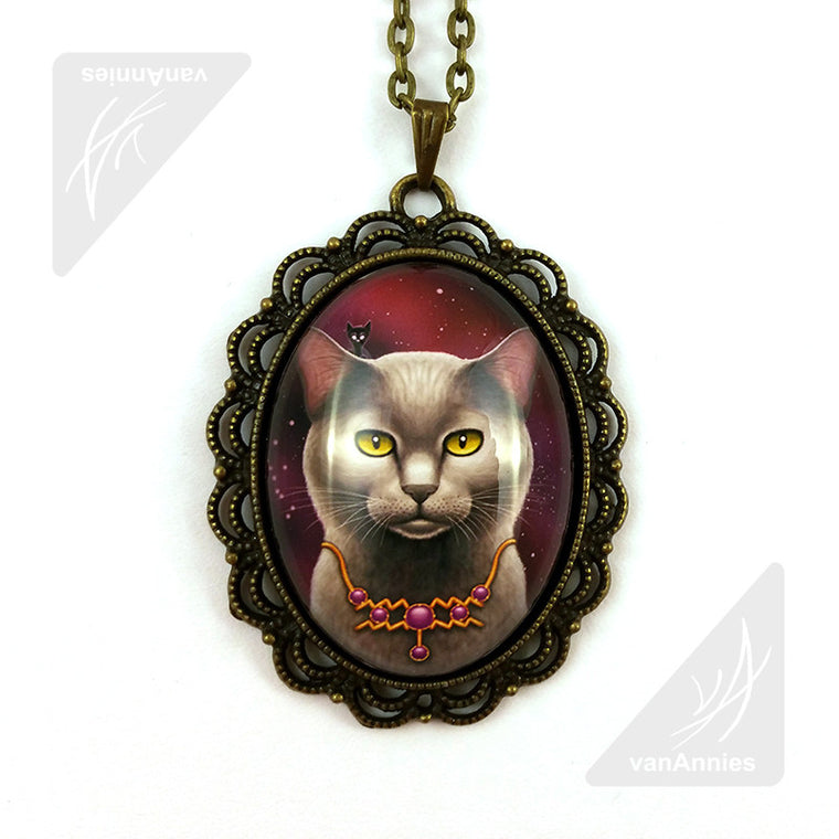 Zodiac Cat Aquarius with February Birthstone Necklace