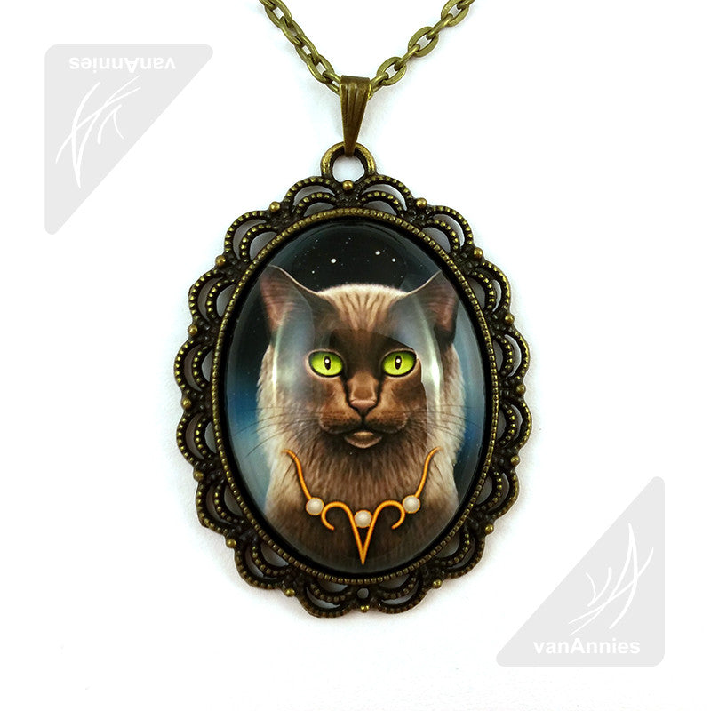 Zodiac Cat Aries with April Birthstone Necklace