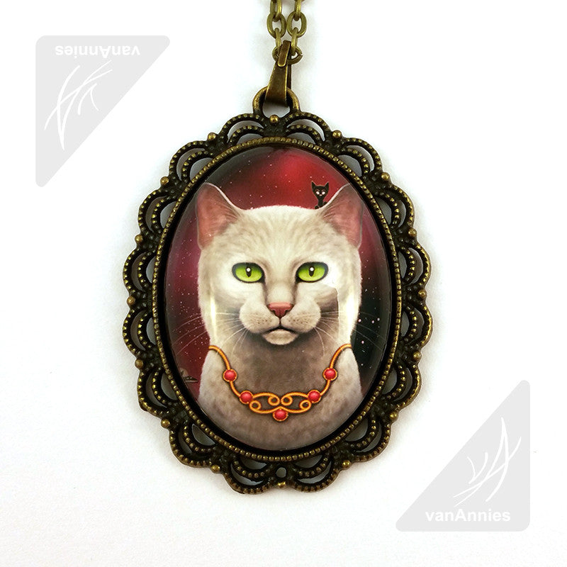 Zodiac Cat Cancer with July Birthstone Large Oval Art Pendant on Chain