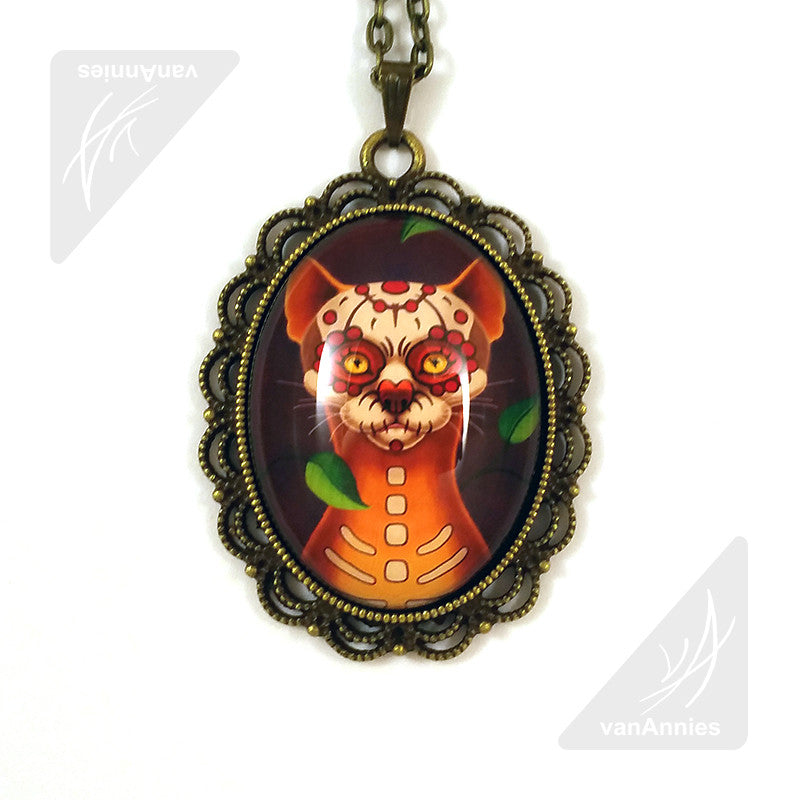 Dulce Gato Day of the Dead Cat Necklace