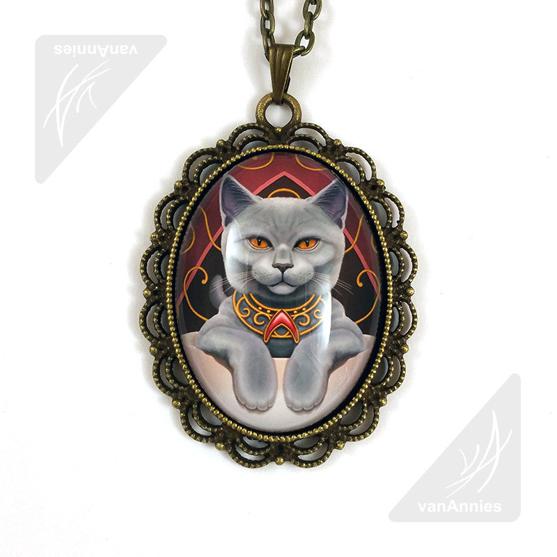 Earl Grey Cat in a Teacup Necklace