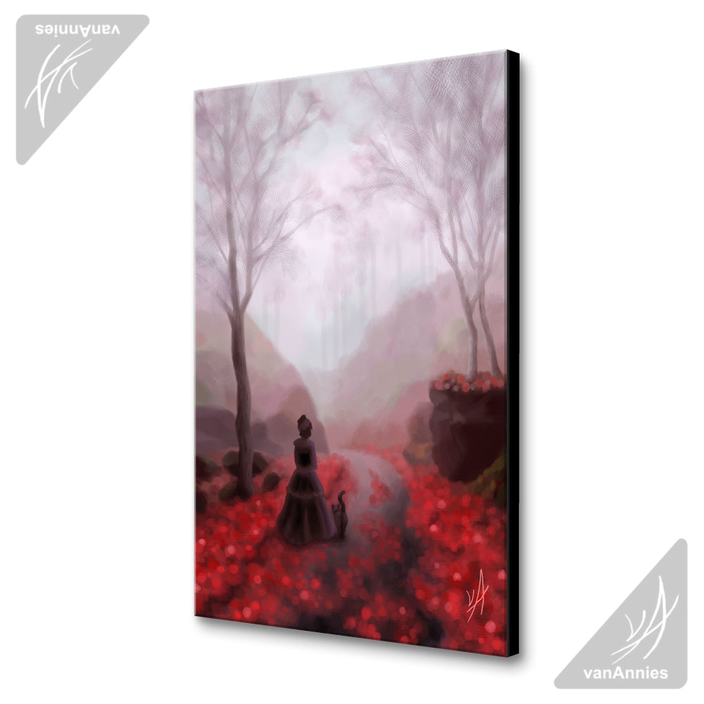 February Fog (Victorian Woman and Cat) Wrapped Canvas Print
