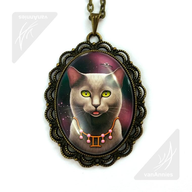 Zodiac Cat Gemini with June Birthstone Necklace