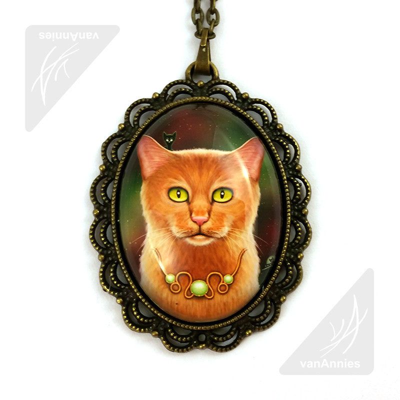Zodiac Cat Leo with August Birthstone Necklace