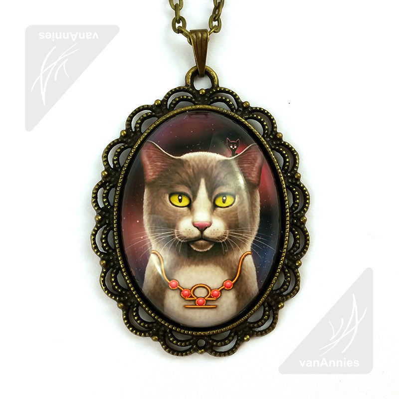 Zodiac Cat Libra with October Birthstone Necklace