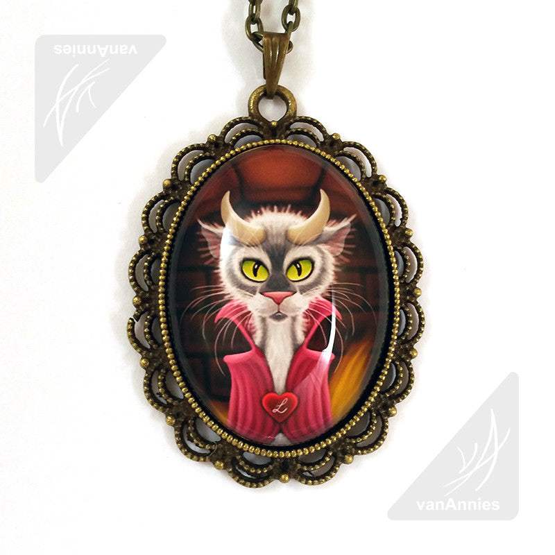 Lucipurr Cat with Horns Necklace