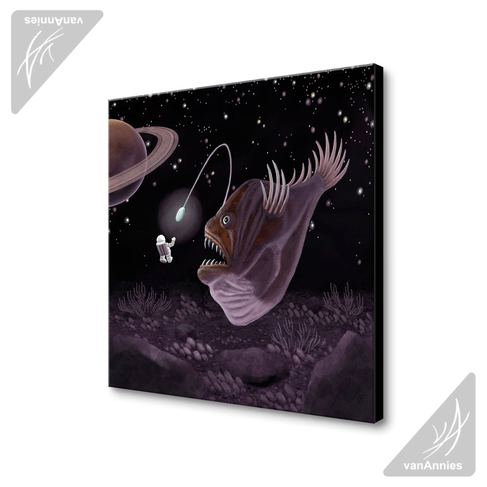 Major Tom and the Outer Space Angler Fish Wrapped Canvas Print