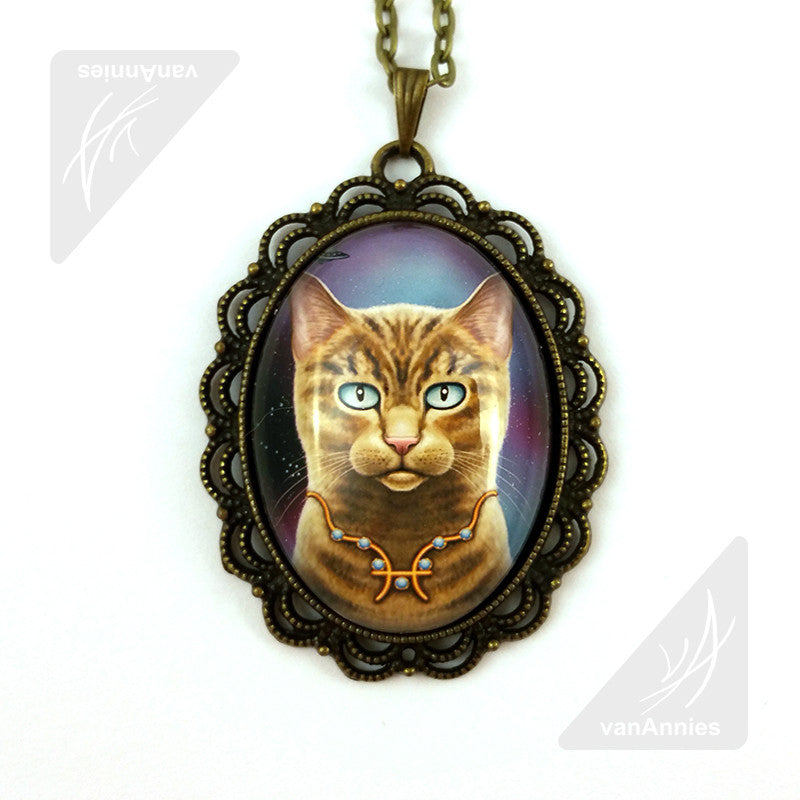 Zodiac Cat Pisces with March Birthstone Large Oval Art Pendant on Chain