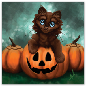Chocolate Treat Halloween Kitten Magnet
