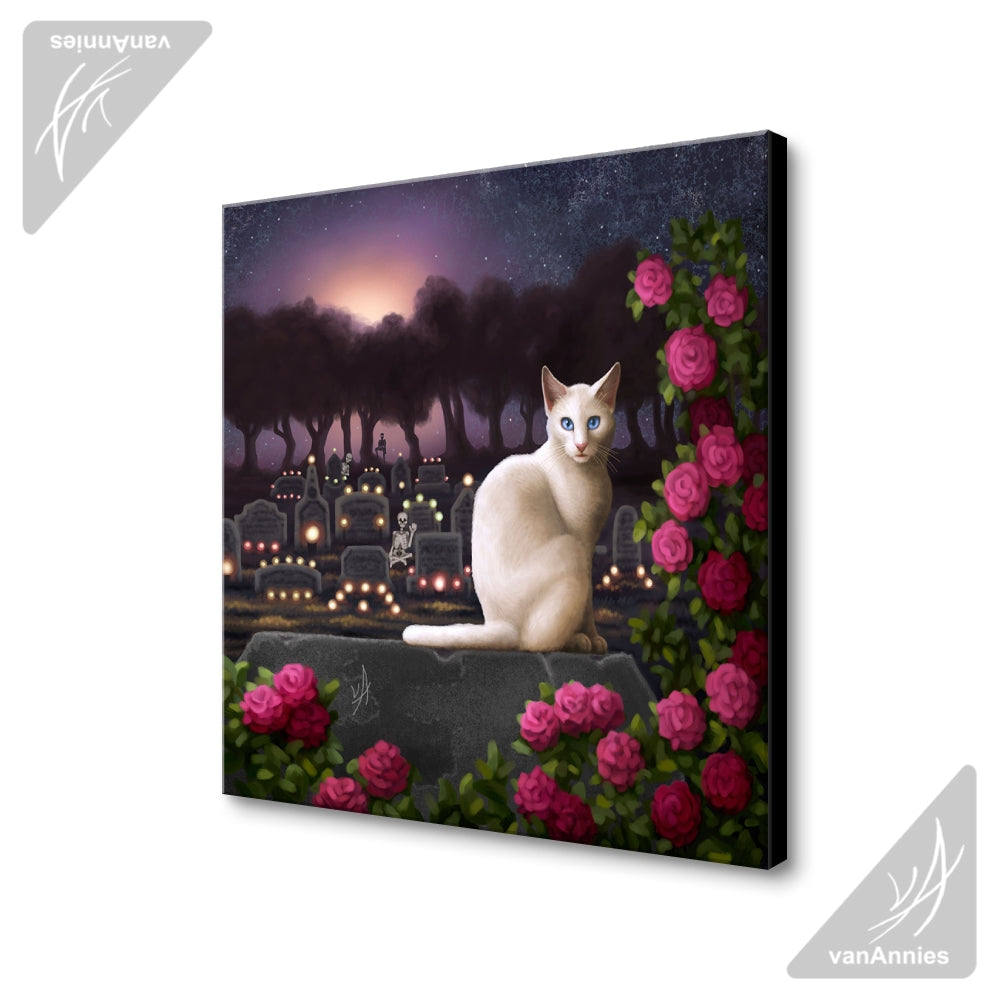 Rendezvous (Cat with Skeletons in Cemetery) Wrapped Canvas Print