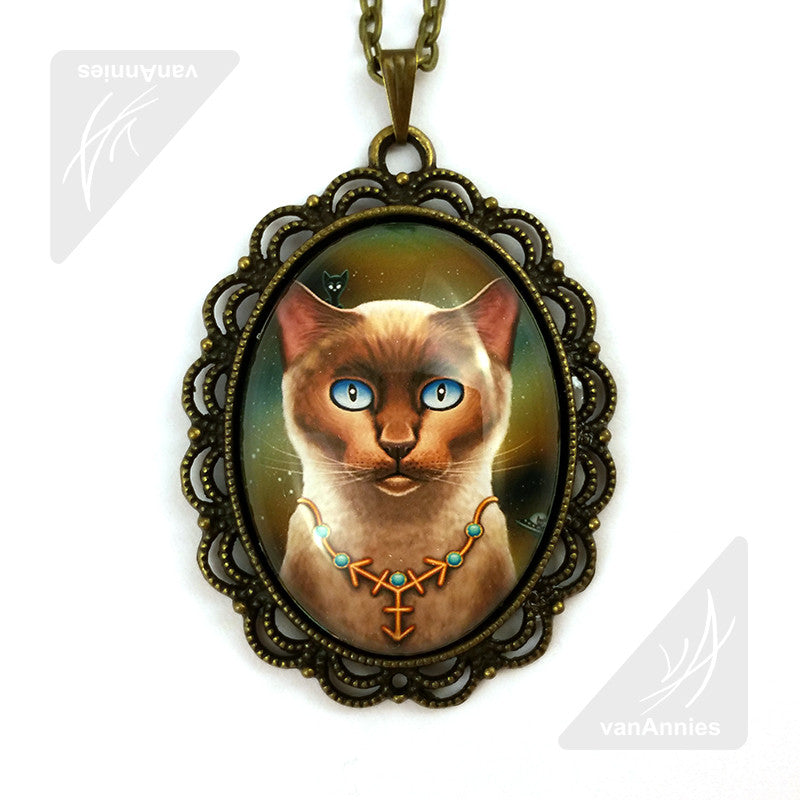 Zodiac Cat Sagittarius with December Birthstone Large Oval Art Pendant on Chain
