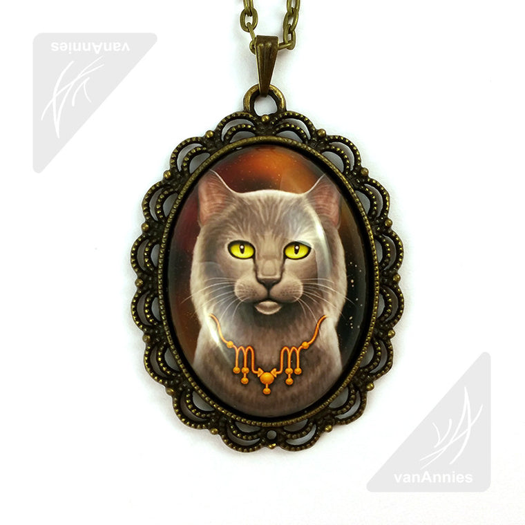 Zodiac Cat Scorpio with November Birthstone Necklace