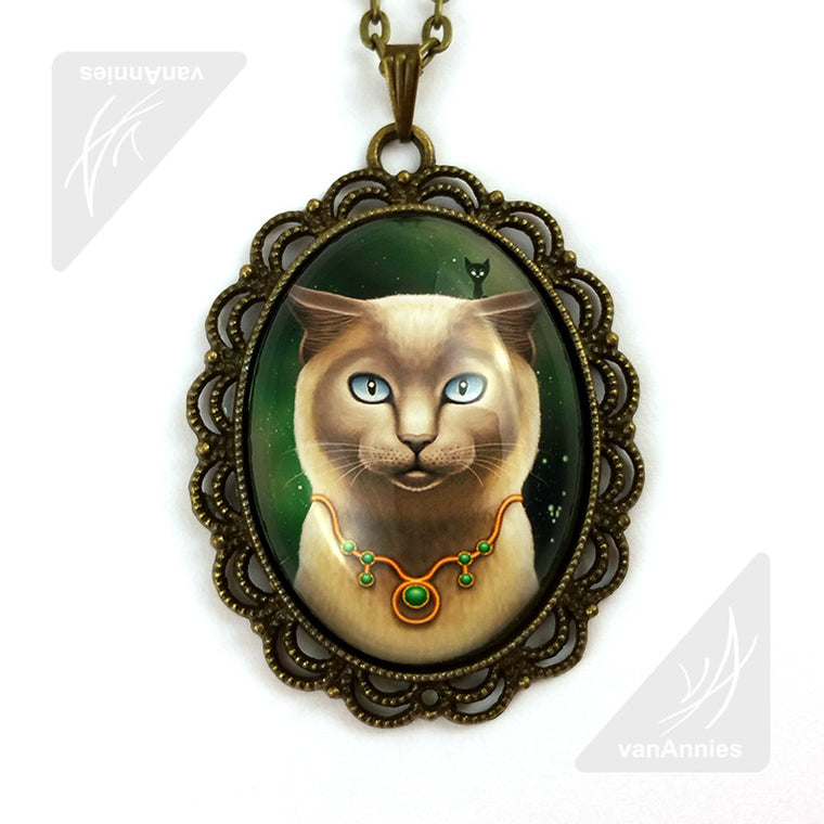 Zodiac Cat Taurus with May Birthstone Necklace