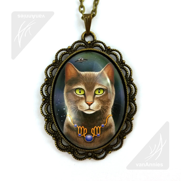 Zodiac Cat Virgo with September Birthstone Necklace