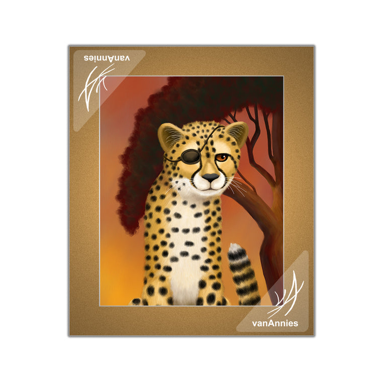 Amani Duma (Cheetah Wearing Eye Patch) Matted Print