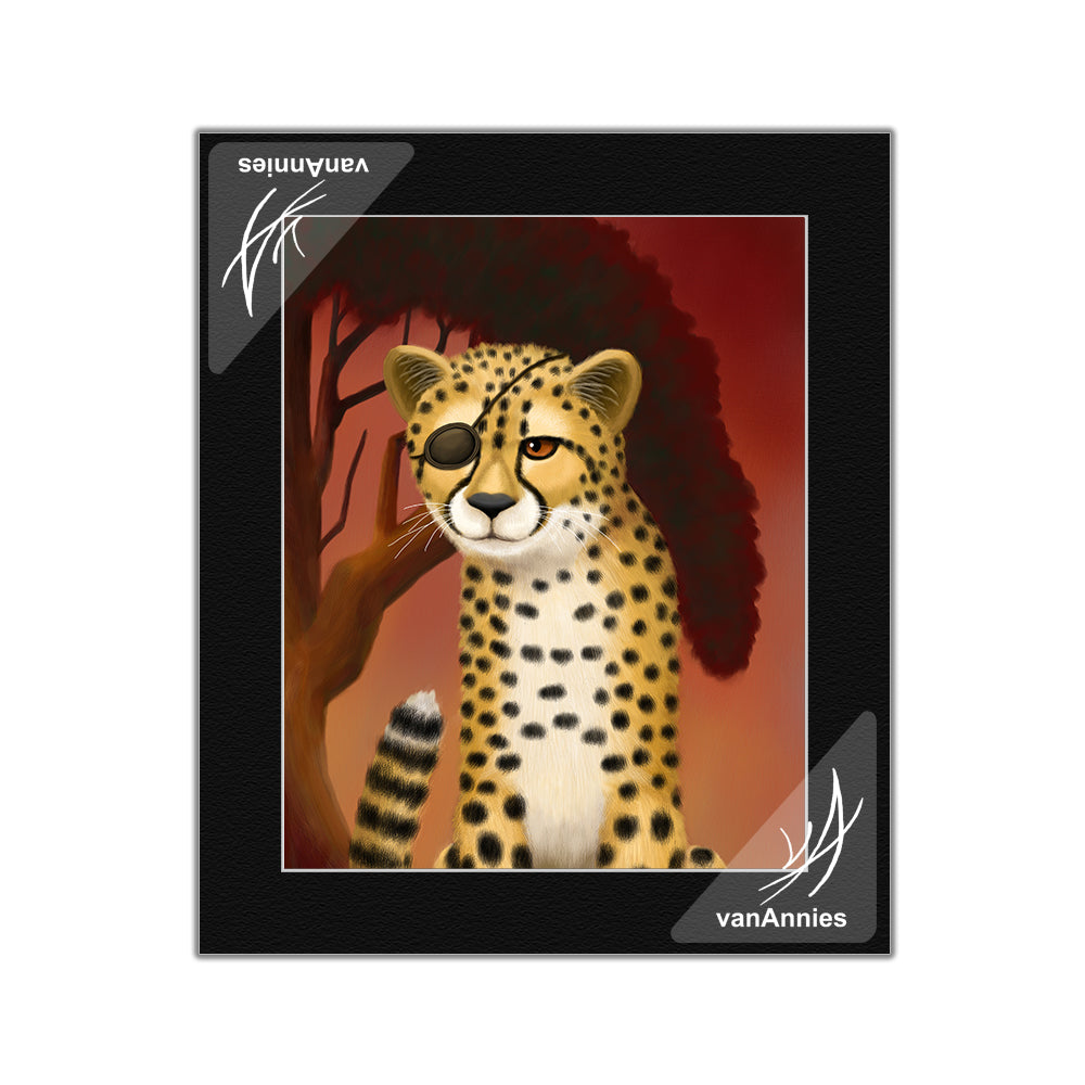 Amani Duma Pacha (Cheetah Wearing Eye Patch) Matted Print