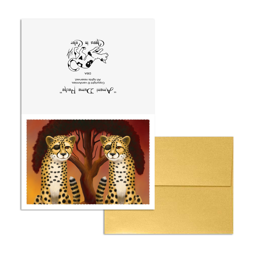 Amani Duma Pacha (Cheetah Twins) 5x7 Art Card Print