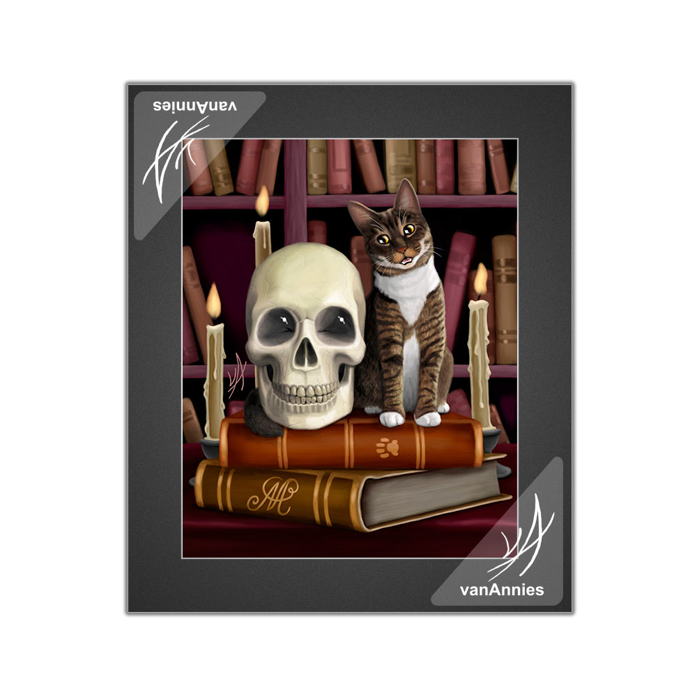 Amazing Stories (Cat and Skull in Library) Matted Print