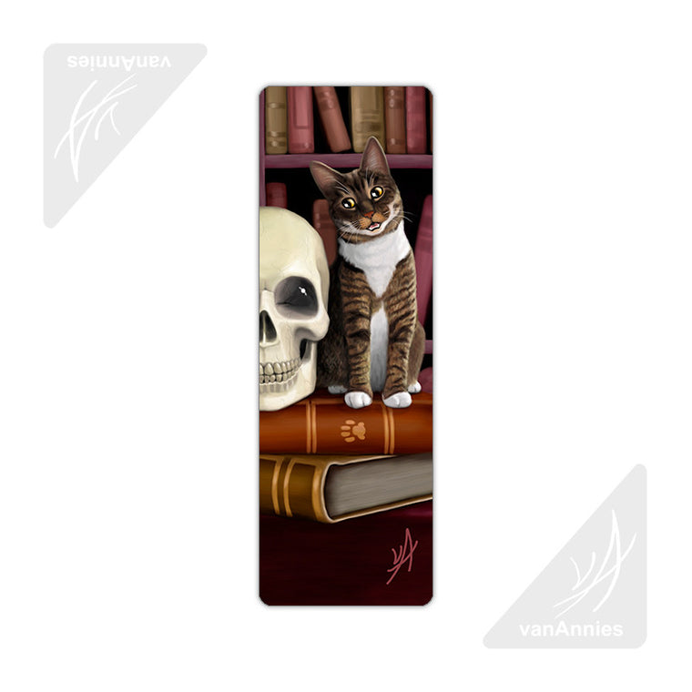Amazing Stories (Cat and Skull in Library) Metal Bookmark