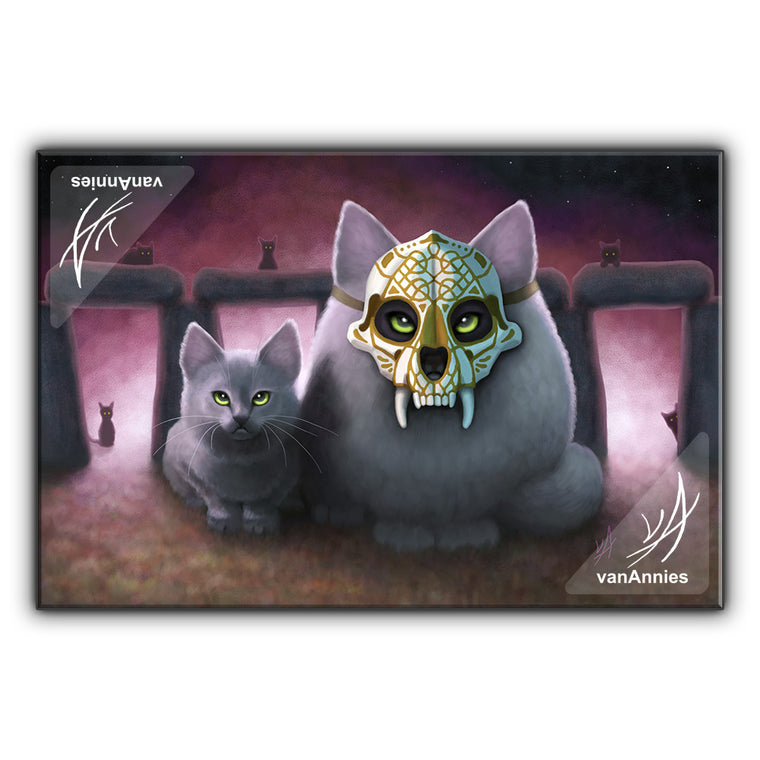 Ancestor (Sugar Skull Cat) Wrapped Canvas Print