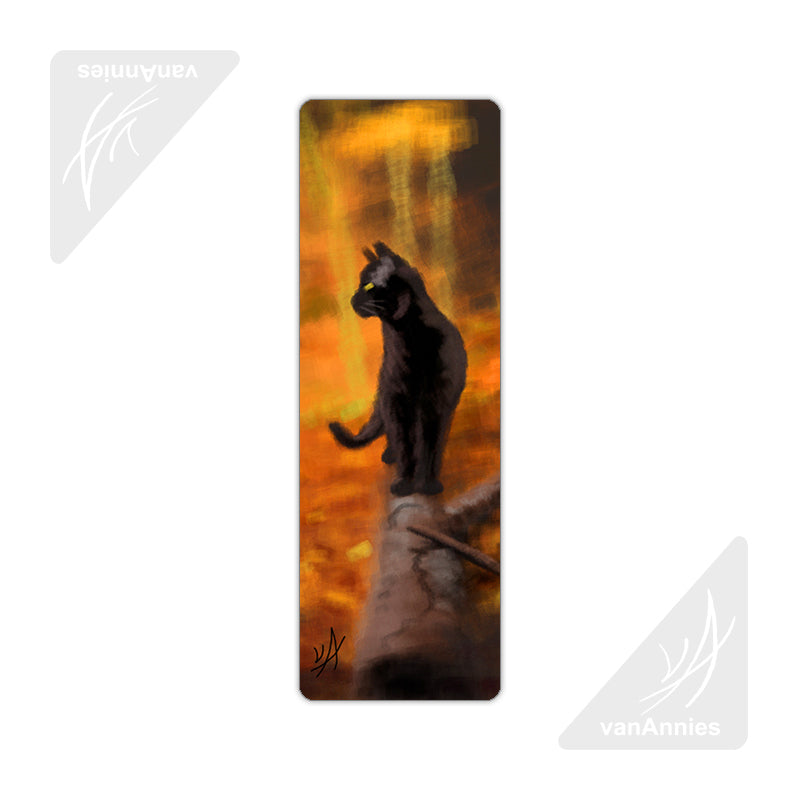 Autumn Black Cat Metal Bookmark