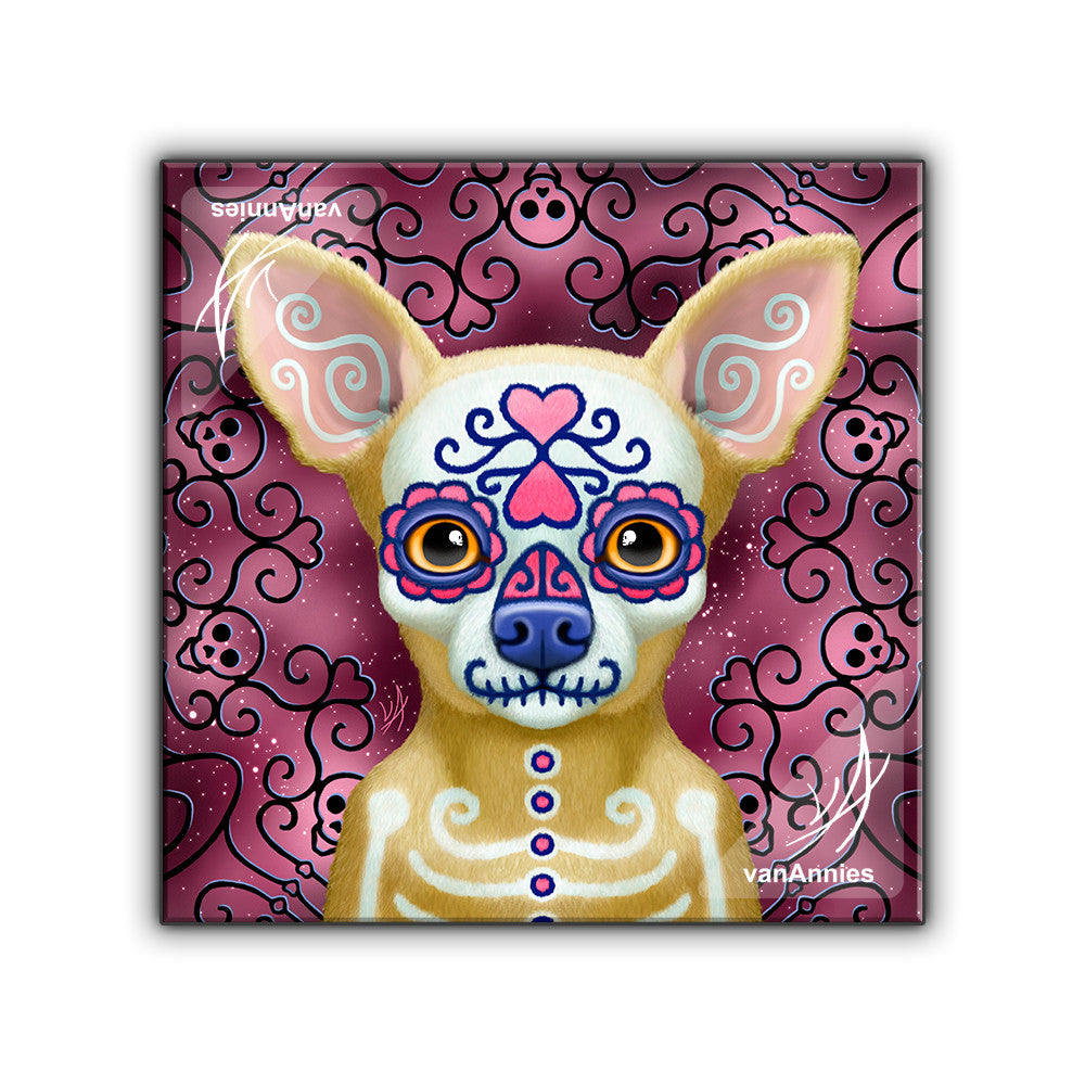 Ay Chihuahua Dia de los Muertos Dog Wrapped Canvas Print