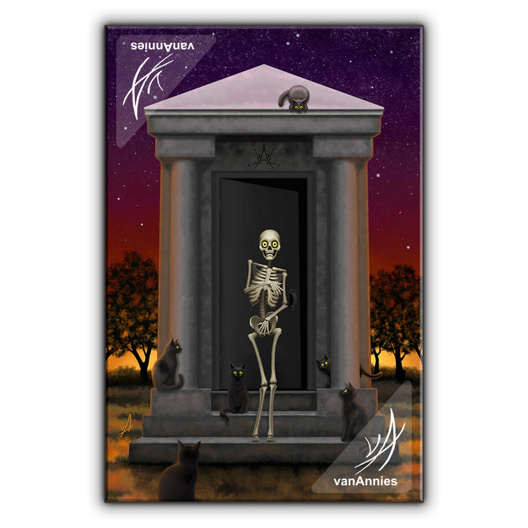Bare Bones (Skeleton with Cats) Wrapped Canvas Print