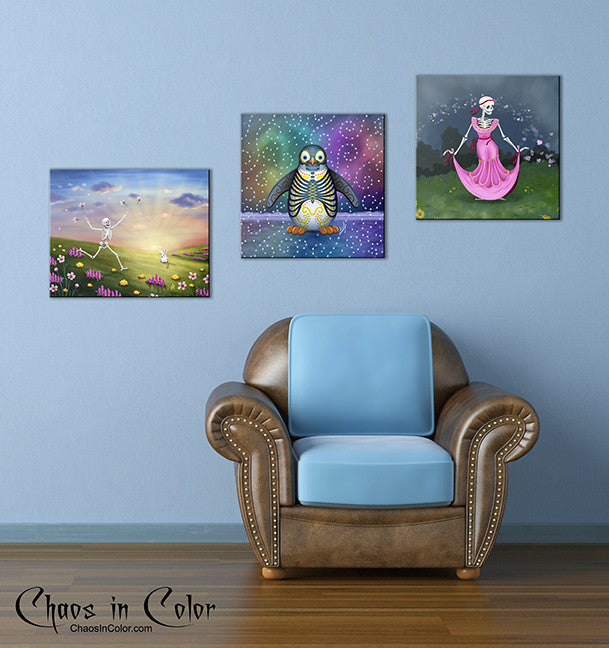 Spring Fling Skeleton with Bunny Wrapped Canvas Print - Chaos in Color - 3