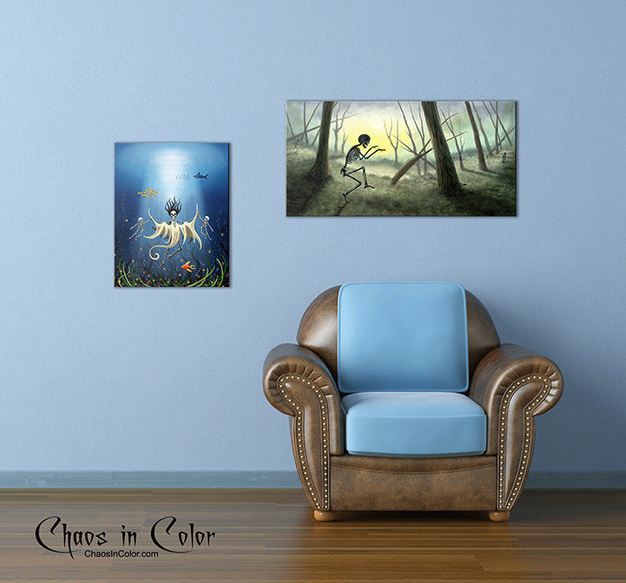 La Llorona as a Skeleton Wrapped Canvas Print - Chaos in Color - 2