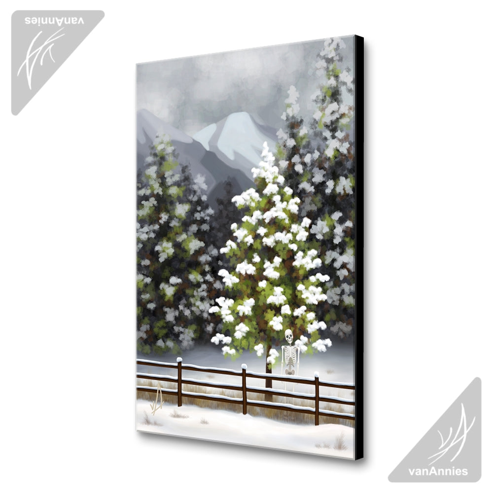Bones of Winter (Skeleton in Snowy Forest) Wrapped Canvas Print