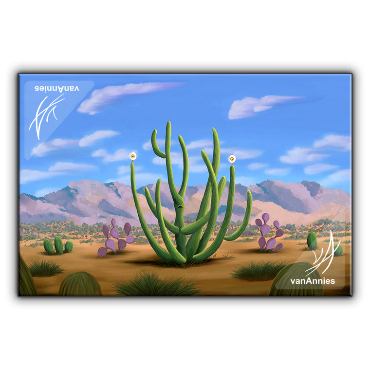 Cacteye the Alien Cactus Wrapped Canvas Print