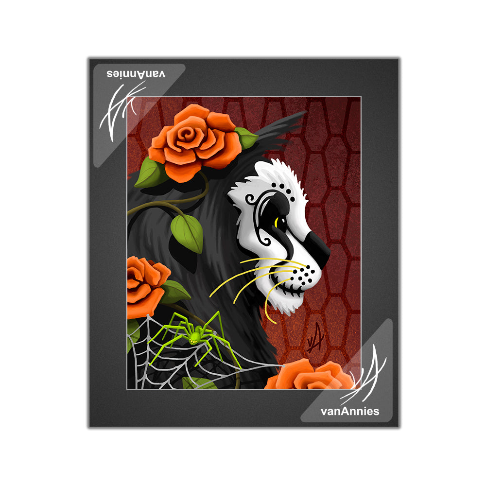 Catacomb (Dia de los Muertos Cat with Spider) Matted Print