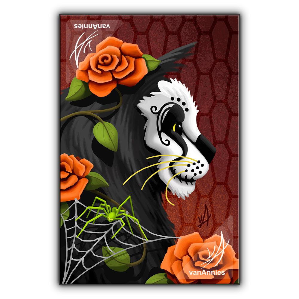Catacomb (Dia de los Muertos Cat with Spider) Wrapped Canvas Print