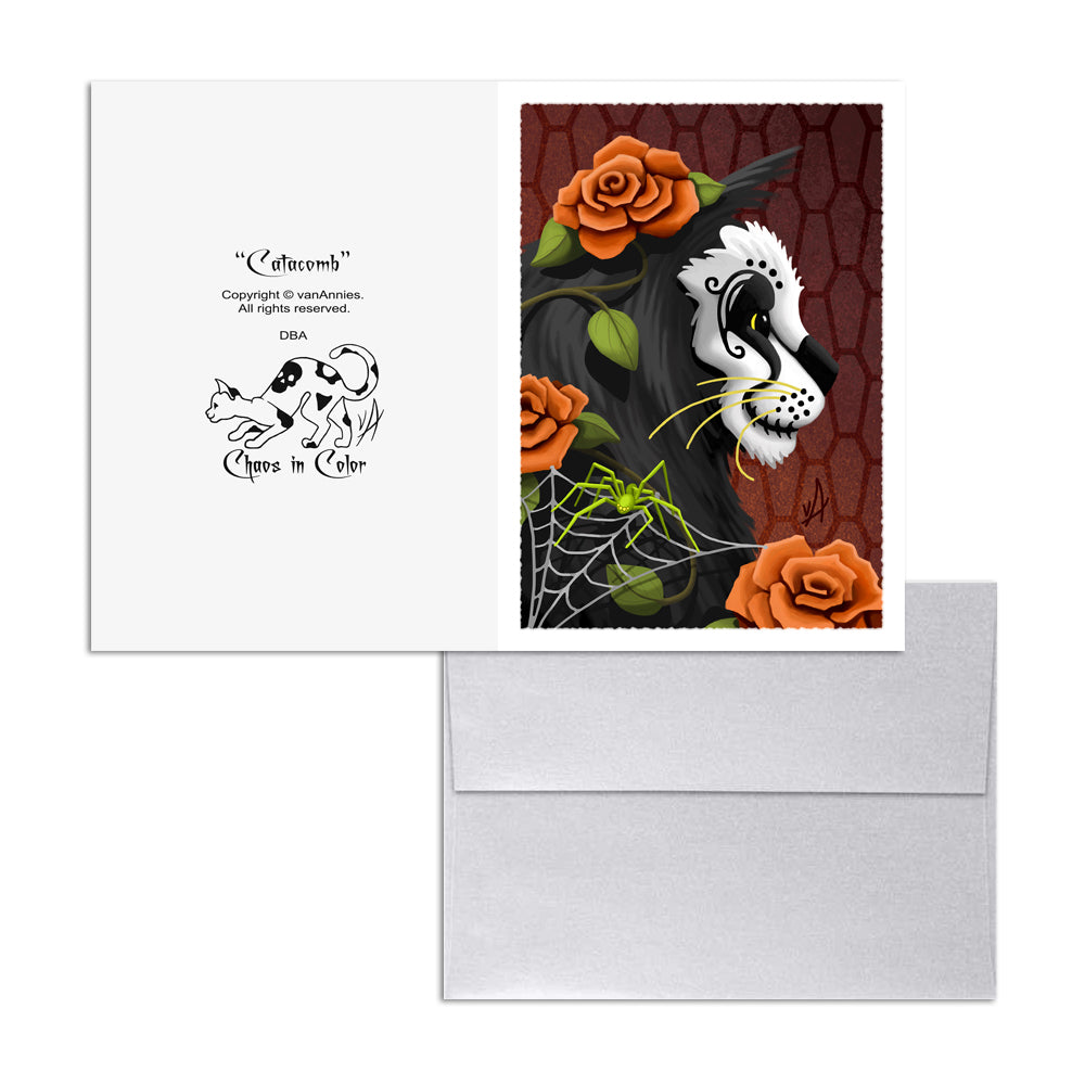 Catacomb (Dia de los Muertos Cat with Spider) 5x7 Art Card Print