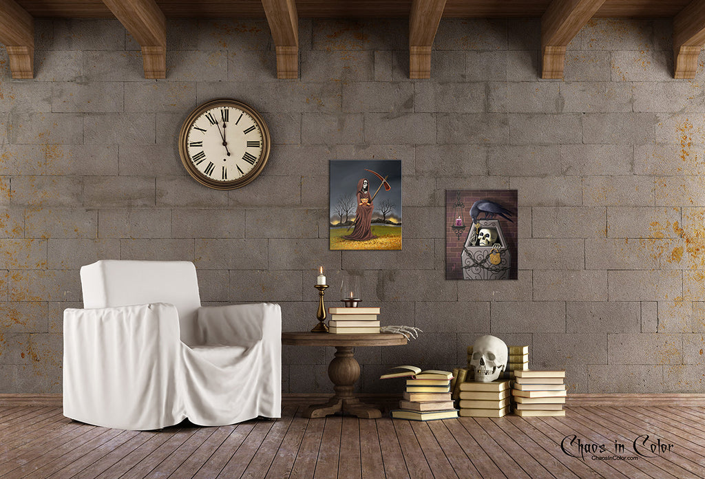 Skeleton Key with Raven Wrapped Canvas Print - Chaos in Color - 2