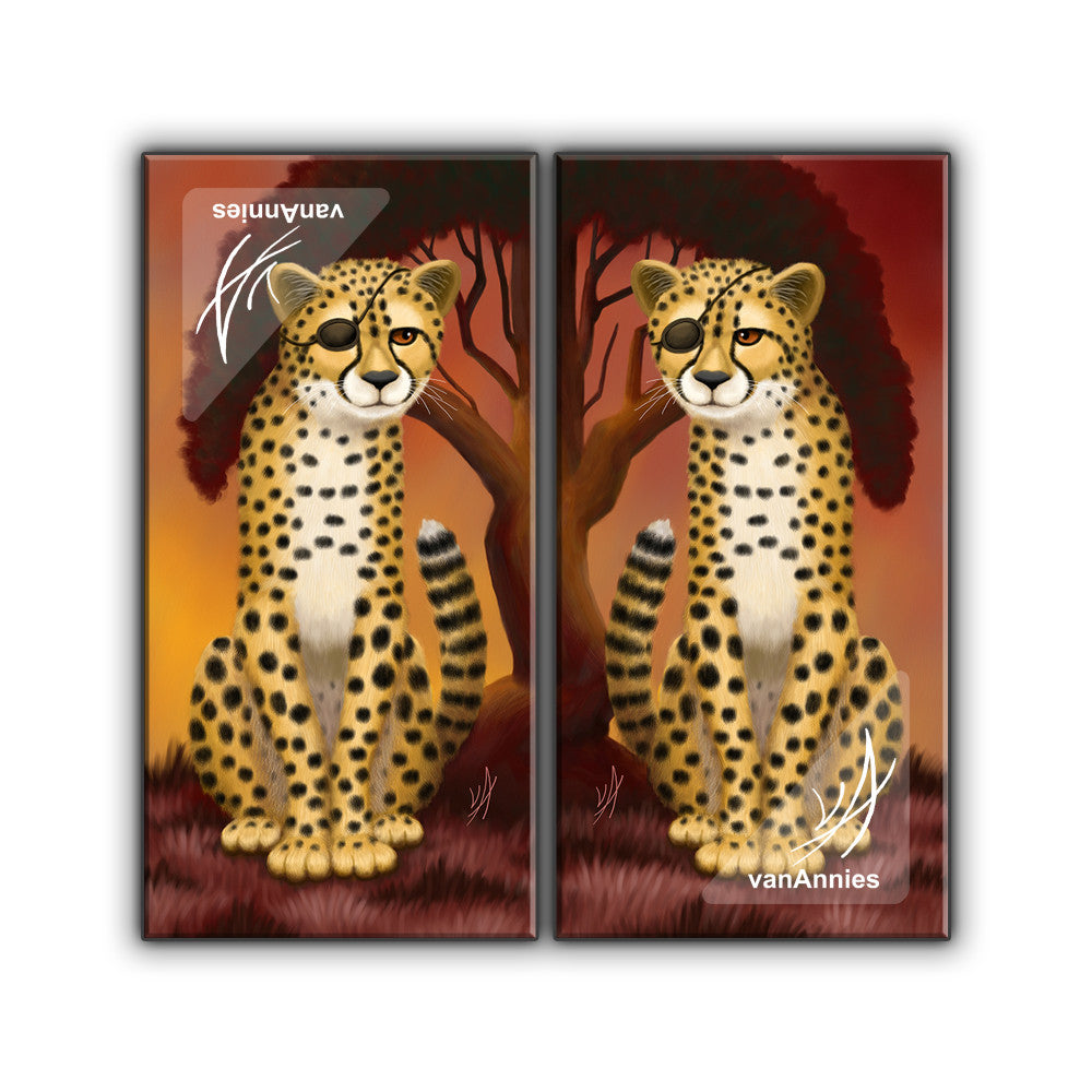 cheetah twins wrapped canvas art print diptych chaos in color