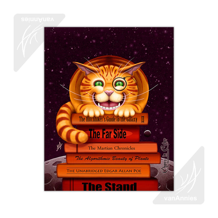 Cheshire Cat on Books 11x14 Glossy Print