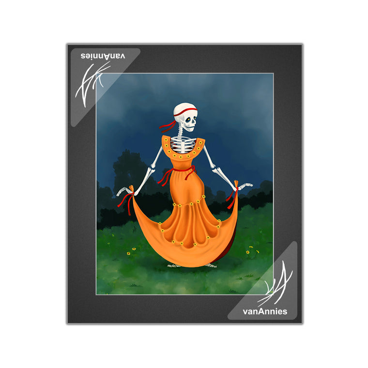Dancing Dead (Dia de los Muertos Skeleton in Orange Dress) Matted Print
