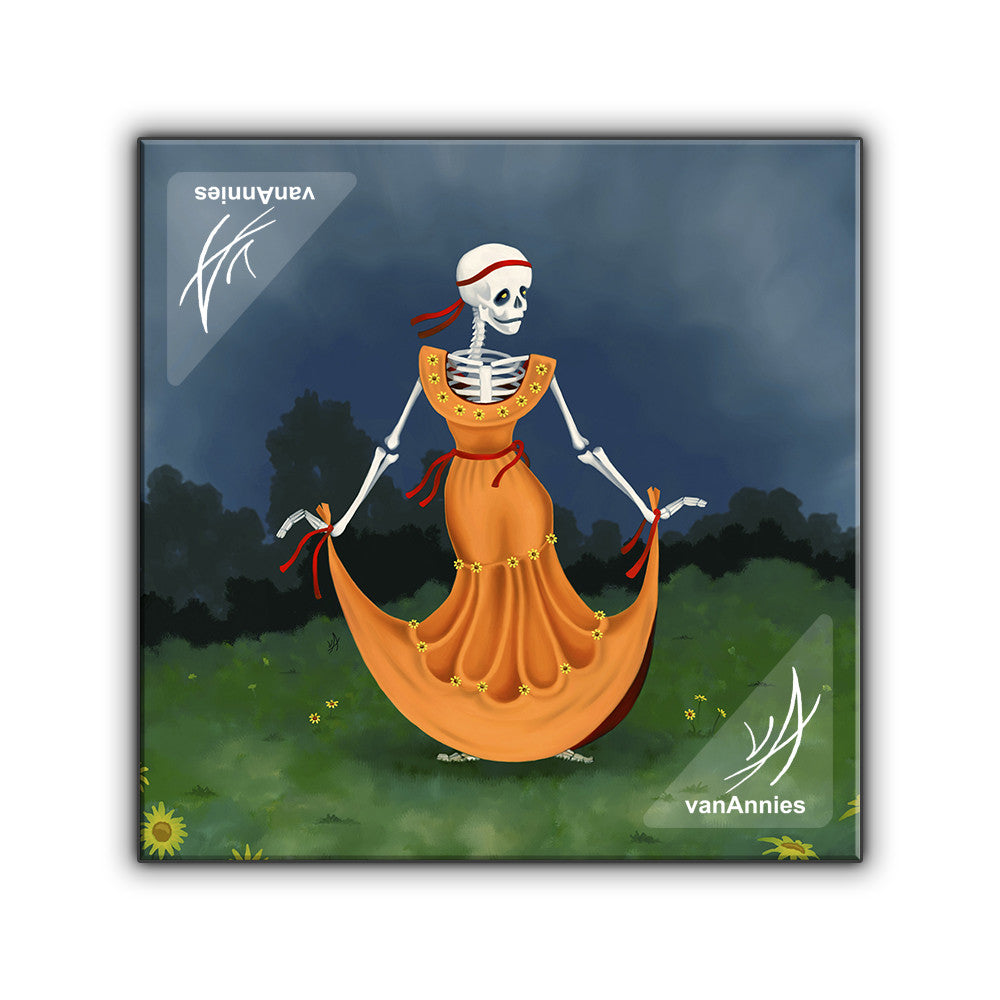 Dancing Dead Skeleton Wrapped Canvas Print