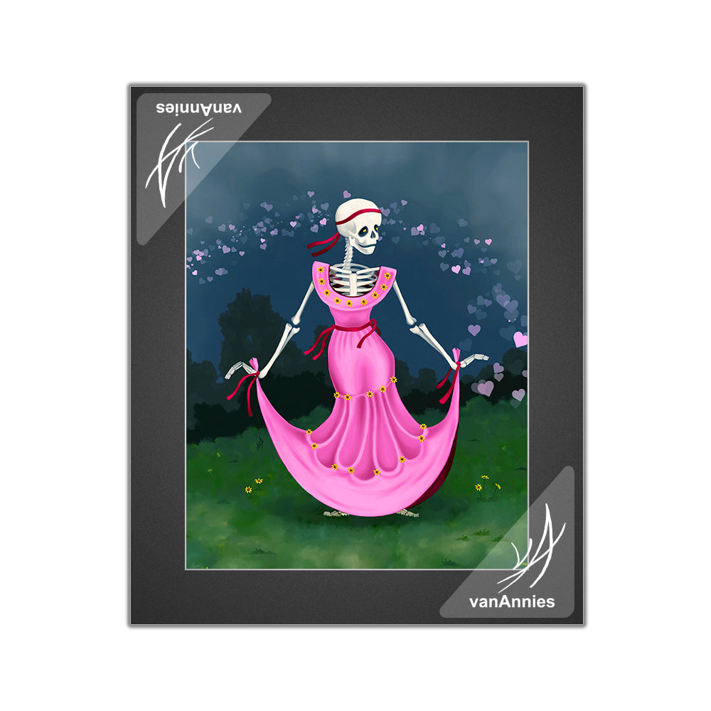 Dancing Dead Valentine (Dia de los Muertos Skeleton in Pink Dress) Matted Print
