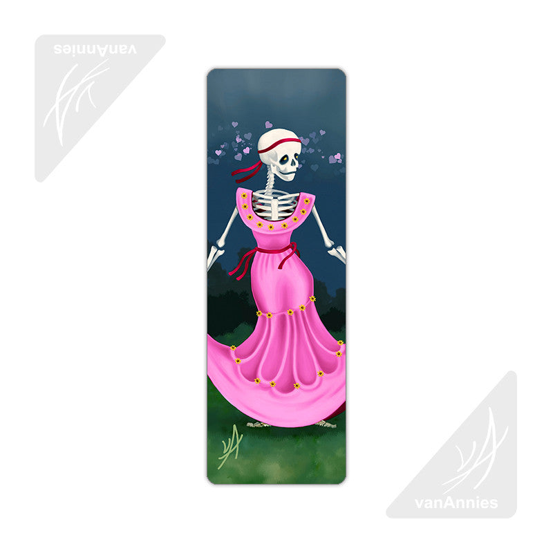 Dancing Dead Valentine (Skeleton in Pink Dress) Metal Bookmark