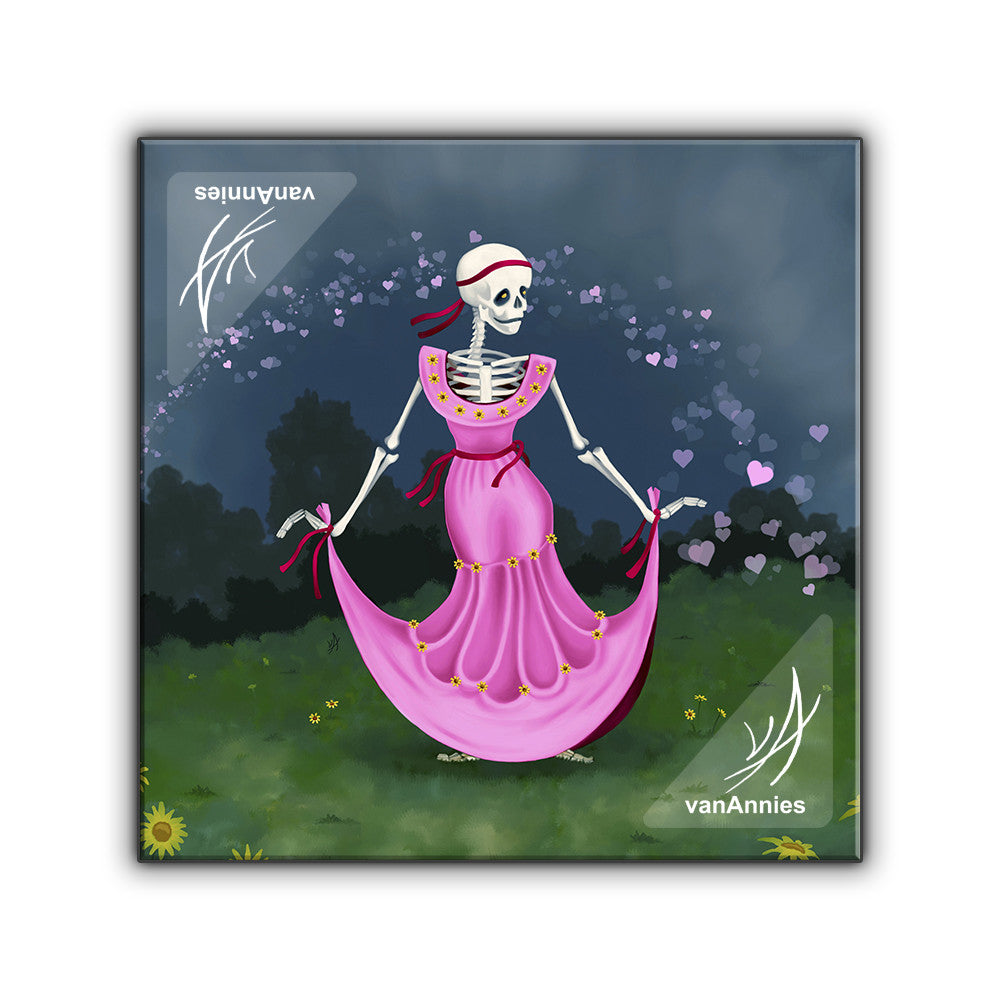 Dancing Dead Valentine Skeleton Wrapped Canvas Print
