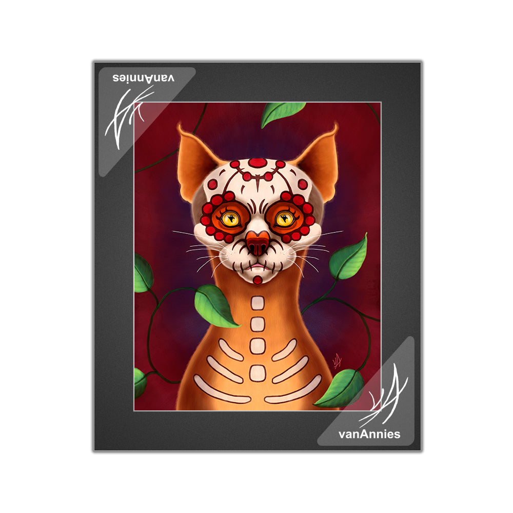 Dulce Gato the Sugar Skull Cat Matted Print