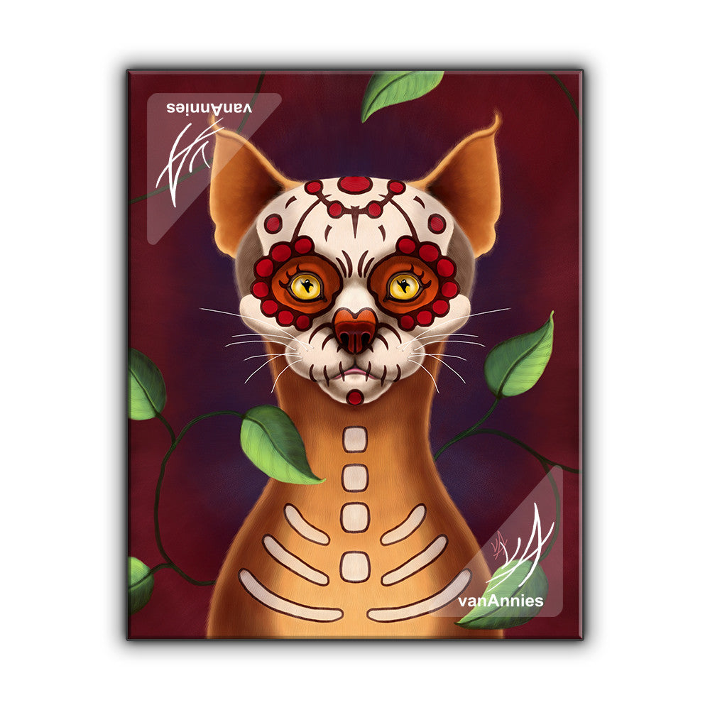 Dulce Gato the Sugar Skull Cat Wrapped Canvas Print