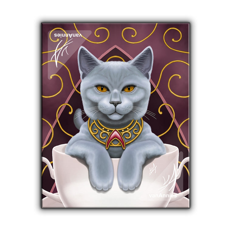 Earl Grey Cat in a Tea Cup Wrapped Canvas Print