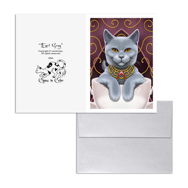 Earl Grey (Cat in Tea Cup) 5x7 Art Card Print