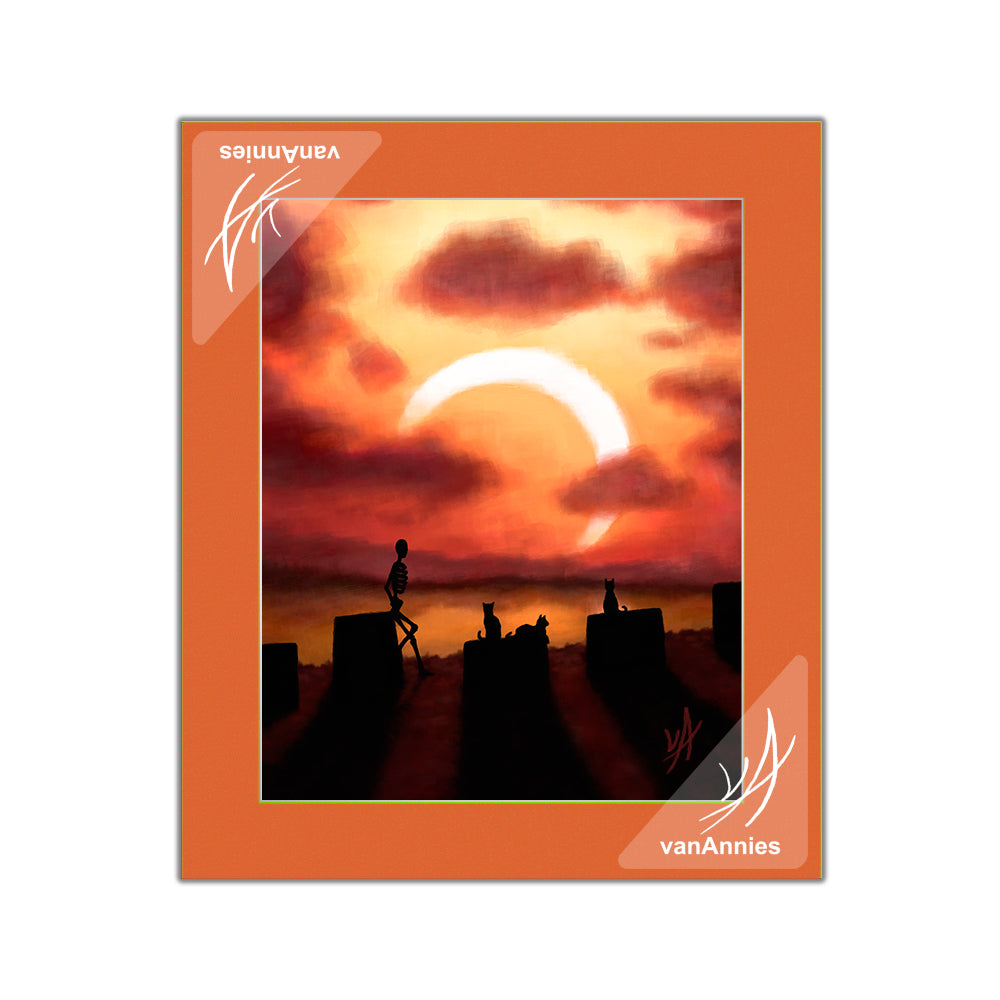 Eclipse at Sunset (Skeleton and Cats Watching Solar Eclipse) Matted Print