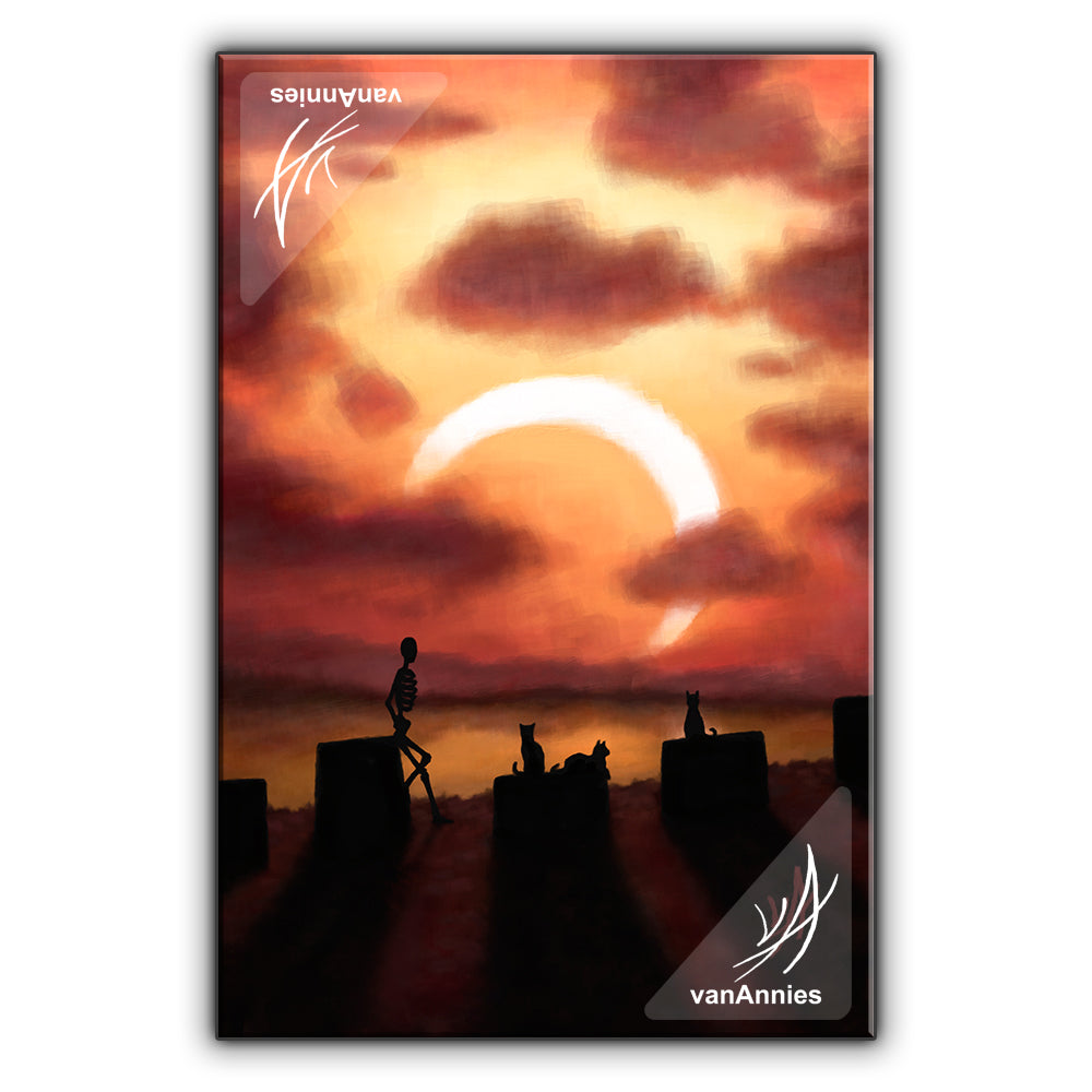 Eclipse at Sunset (Skeleton and Cats Watching Solar Eclipse) Wrapped Canvas Print